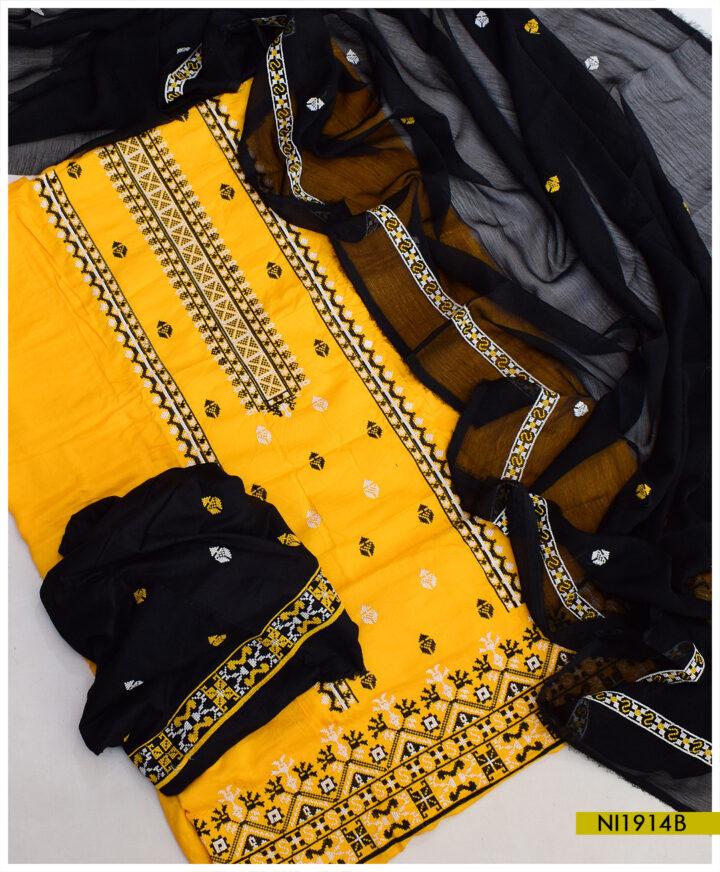Linen Cross-Stitch Machine Embroidery Ladies Un-Stitched Suits With Chiffon Dupatta - NI1914B