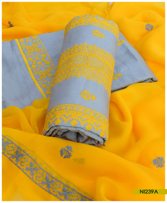 Linen 3 PCs Un-Stitched Cross-Stitch Work Suits With Chiffon Dupatta – NI239A