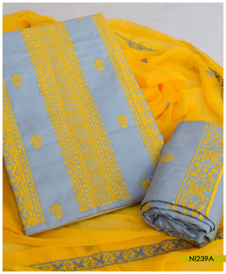 Linen 3 PCs Un-Stitched Cross-Stitch Work Suits With Chiffon Dupatta - NI239A