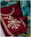 Latest Winter Linen 3 PCs Ladies Un-Stitched Embroidered Suit with Wool Shawl - S02-4566Ba
