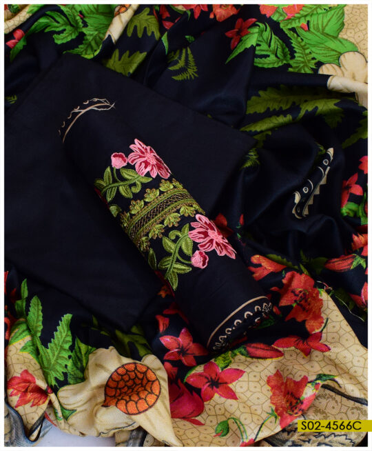 Winter Linen Embroidered 3 PCs Women Un-Stitched Dress with Wool Printed Shawl – S02-4566C