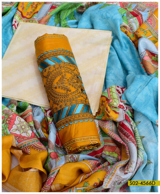 Winter Linen Embroidered 3 PCs Women Dress with Wool Printed Shawl - S02-4566D