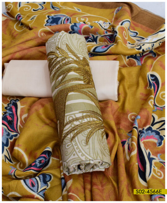 Printed Winter Linen Embroidered 3 PCs Un-Stitched Suit with Printed Wool Shawl – S02-4566E