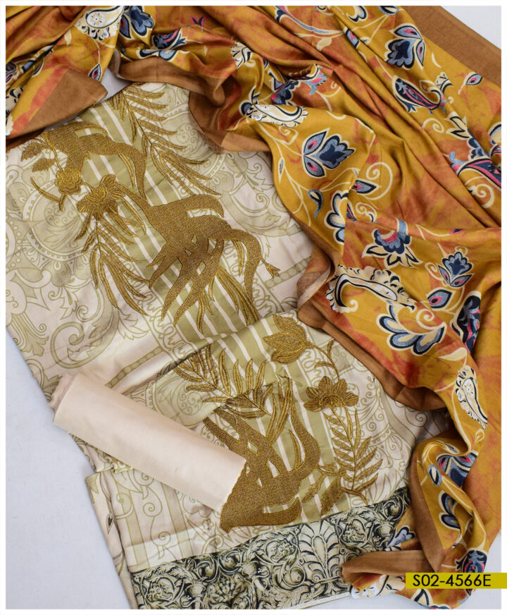 Printed Winter Linen Embroidered 3 PCs Un-Stitched Suit with Printed Wool Shawl - S02-4566E