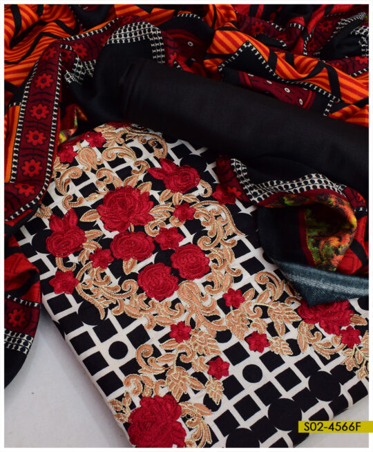 Winter Printed Linen Embroidered Un-Stitched Suit With Printed Wool Shawl - S02-4566F