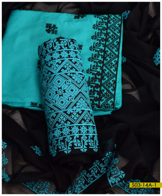 Linen Machine Embroidered 3 PCs Un-Stitched Suits With Chiffon Dupatta – S03-14A