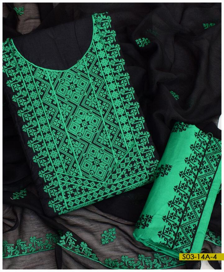 Linen Machine Embroidered 3 PCs Un-Stitched Suits With Chiffon Dupatta - S03-14A