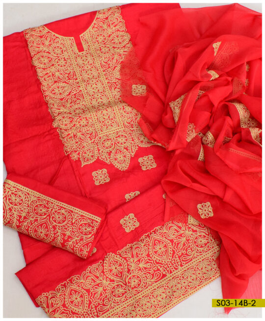 Linen 3 PCs Embroidered Suits with Chiffon Dupatta – S03-14B2