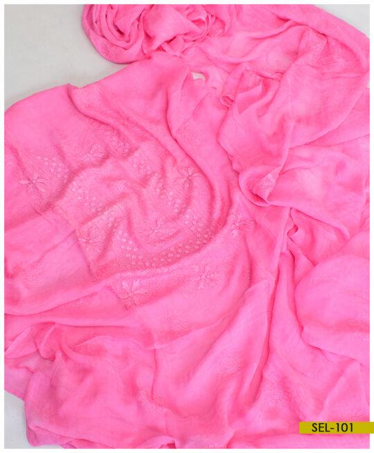 Chiffon 2 PCs Hand Embroidery Shirt & Dupatta – SEL-101