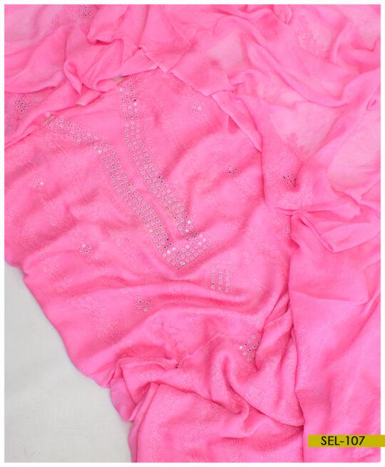 Chiffon 2 PCs Shadow Sheesha Work Embroidery Un-Stitched Shirt and Dupatta – SEL-107
