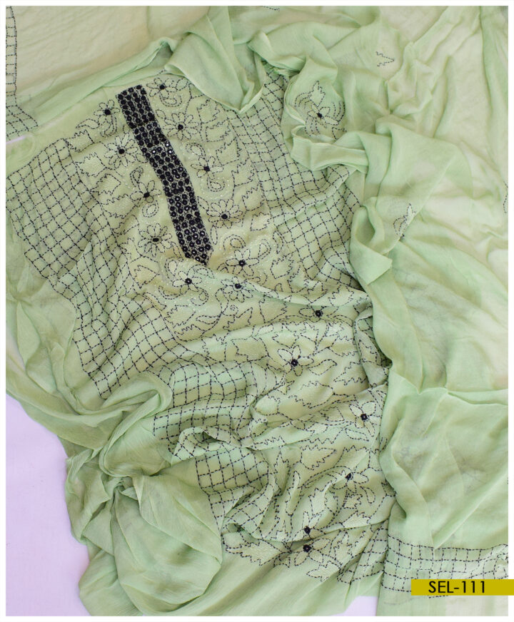 2 PCs Chiffon Hand Embroidered Kacha Sheesha Work Un-Stitched Shirt and Dupatta - SEL-111