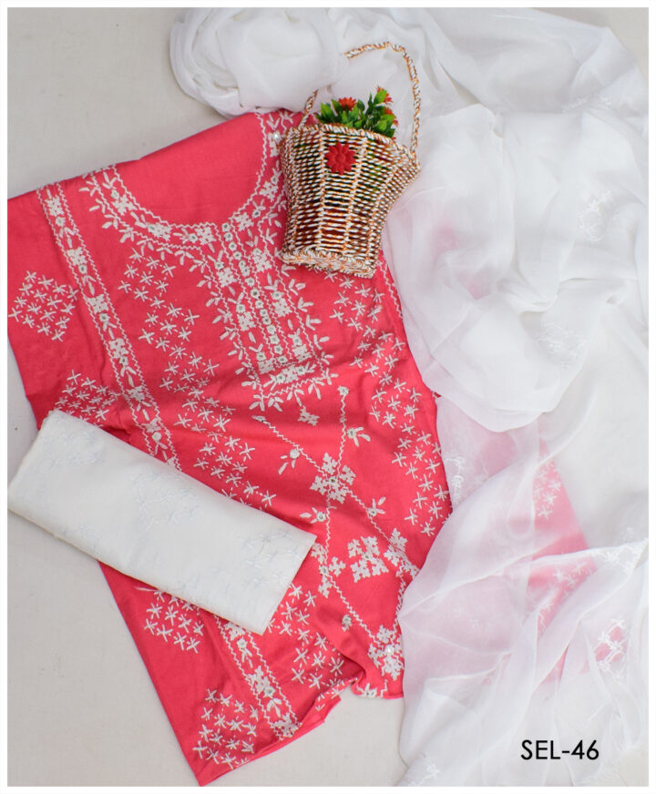 3 PCs Hand Embroidered Lawn Chawal Sheesha Suit With Chiffon Dupatta - SEL-46
