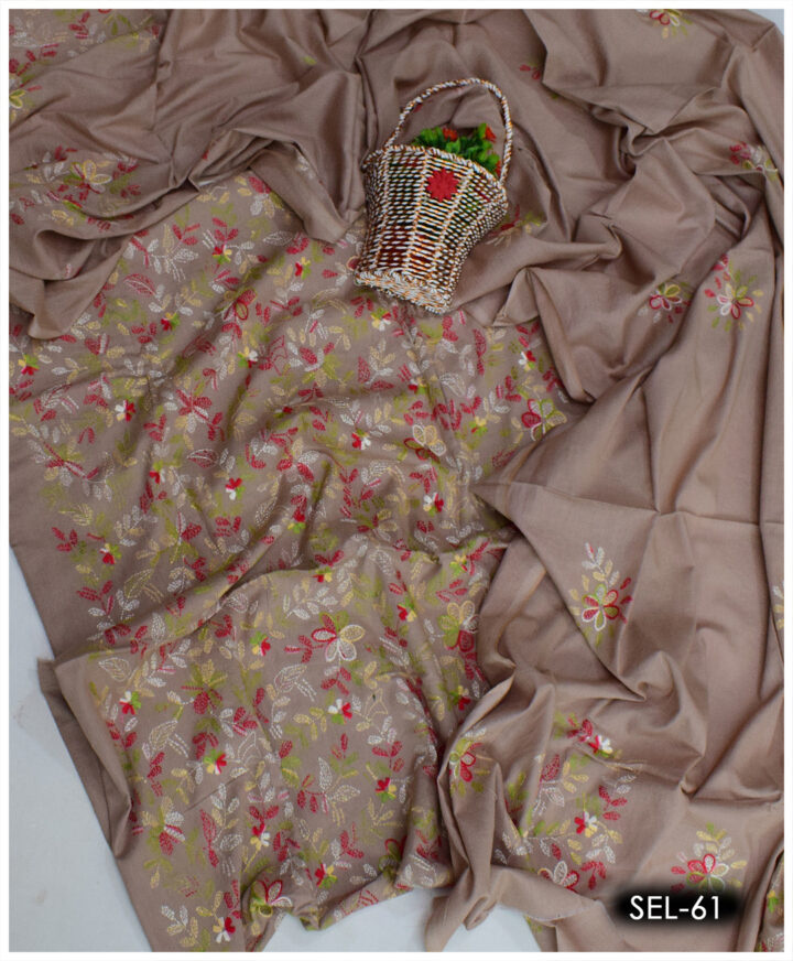 3 PCs Lawn Hand Embroidered Suit With Lawn Dupatta - SEL-61