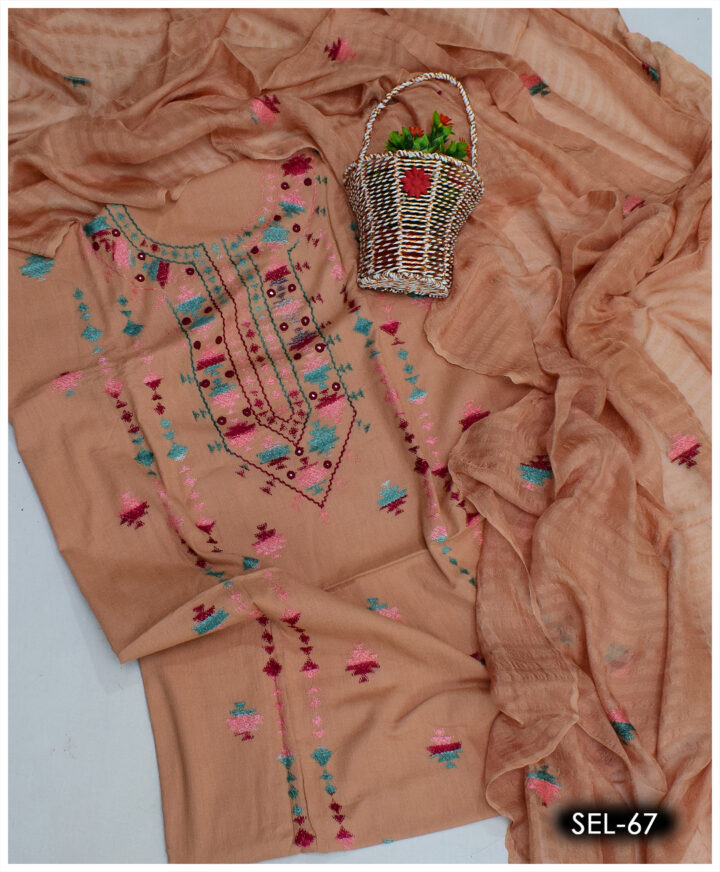 3 PCs Hand Embroidered Lawn Banarsi Work Suits With Chiffon Dupatta - SEL-67