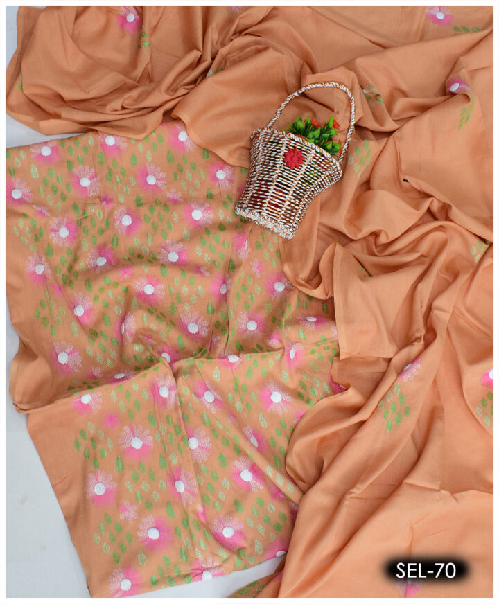 3 PCs Hand Embroidery Kachaboor Work Ladies Lawn Suit with Chiffon Dupatta - SEL-70
