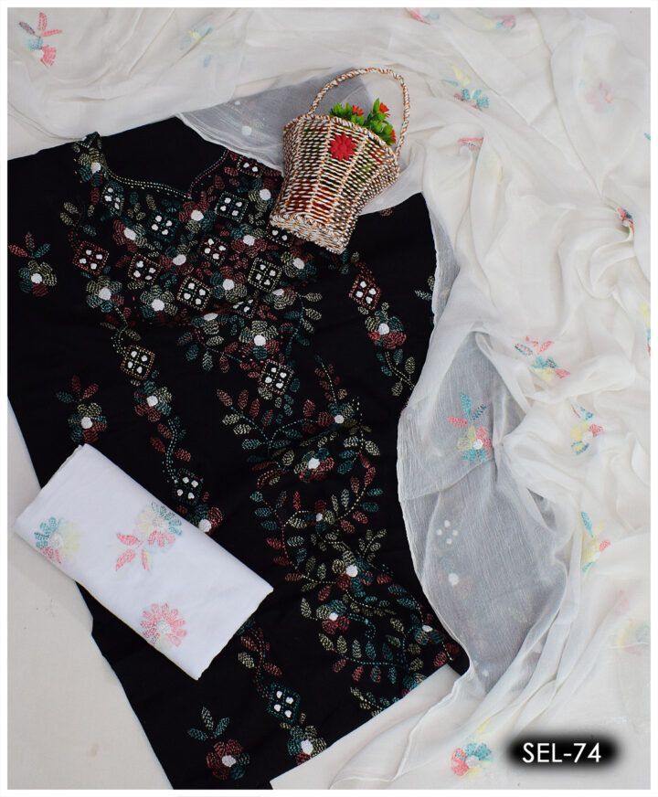 3 PCs Hand Embroidered Ladies Kachaboor Sheesha Work Suit With Chiffon Dupatta - SEL-74