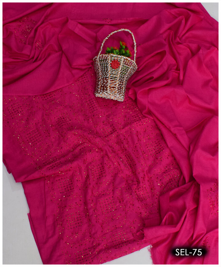 3 PCs Hand Embroidered Kat Dana Work Suit With lawn Dupatta - SEL-75