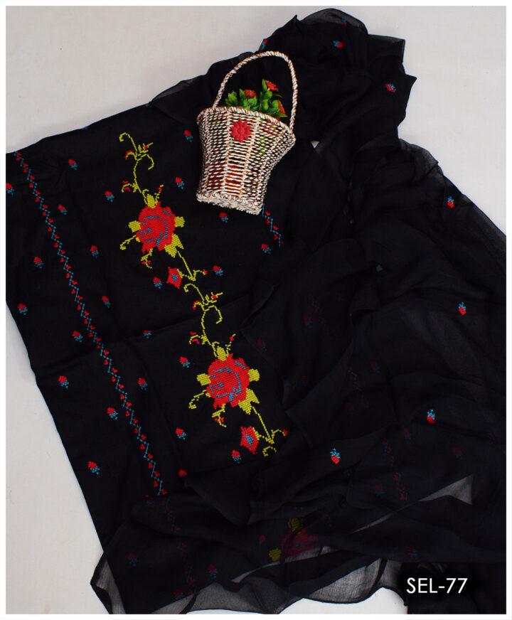 3 PCs Cross-Stitch Hand Embroidery Suit With Chiffon Dupatta - SEL-77