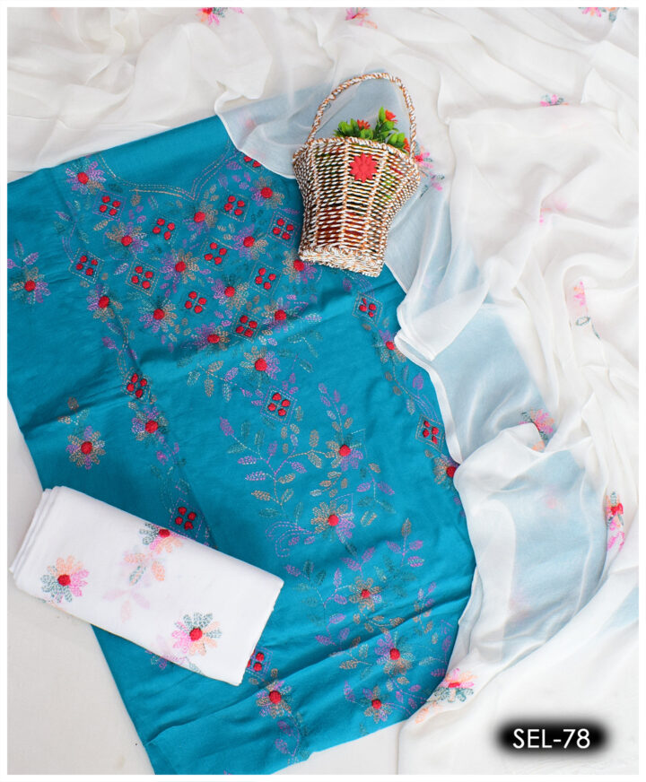 3 PCs Ladies Hand Embroidered Kachaboor Work Lawn Suit With Chiffon Dupatta - SEL-78