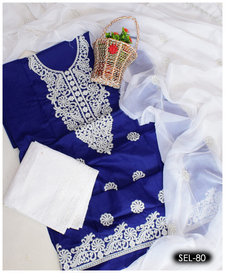 3 PCs Soft Cotton Machine Embroidered Suit With Chikan Shalwar and Chiffon Dupatta - SEL-80