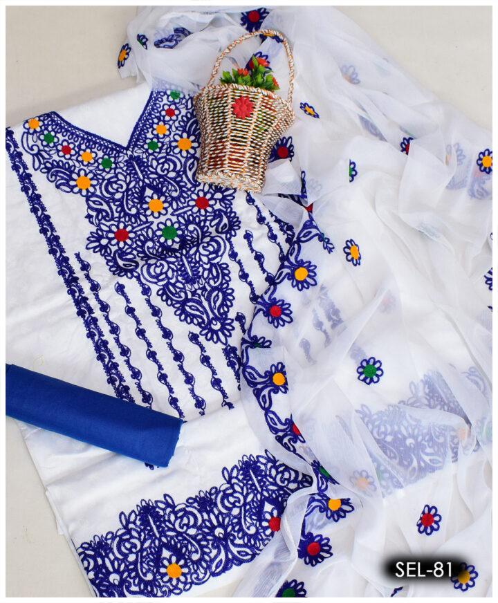 3 PCs Soft Cotton Machine Embroidered Aari Work Suit with Chiffon Dupatta - SEL-81