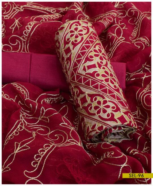 3 PCs Glitter Printed Soft Cotton Embroidered Un-Stitched Suit with Chiffon Dupatta