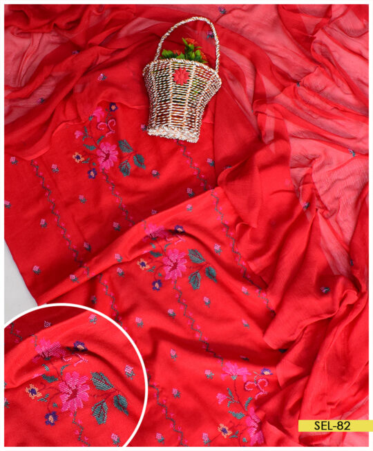 3 PCs Cross-Stitch Hand Embroidery Lawn Suit With Chiffon Dupatta