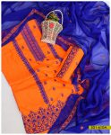 Linen 3 PCs Cross-Stitch Work Suits With Chiffon Dupatta - S01-610A