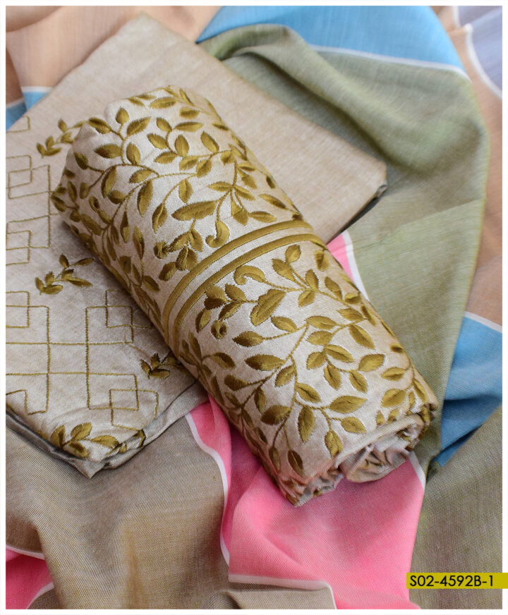 Soft Khaddar 3 PCs Bareeze Jaal Embroidery Suits With Khaddar Shawl - S02-4592B