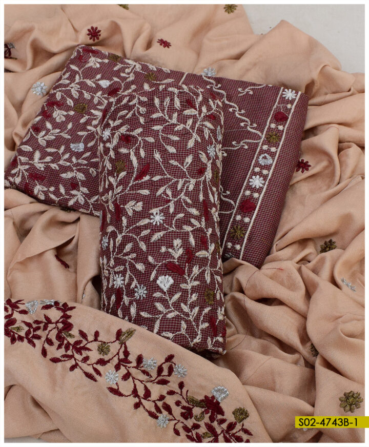 Winter Khadi Stuff 3 PCs Bareeze Jaal Embroidery Suits - S02-4743B
