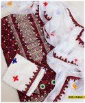 3 PCs Linen Ajrak Aari Embroidery Un-Stitched Suits With Chiffon Dupatta - S05-1946A