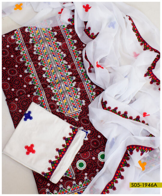 3 PCs Linen Ajrak Aari Embroidery Un-Stitched Suits With Chiffon Dupatta - S05-1946A