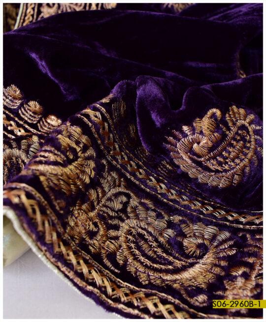 Beautifully Machine Embroidered Velvet Shawls – S06-2960B
