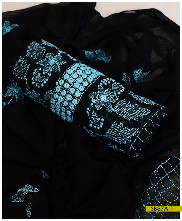 Chiffon Hand Embroidery Kacha Sheesha Work Shirt and Dupatta - SB37A