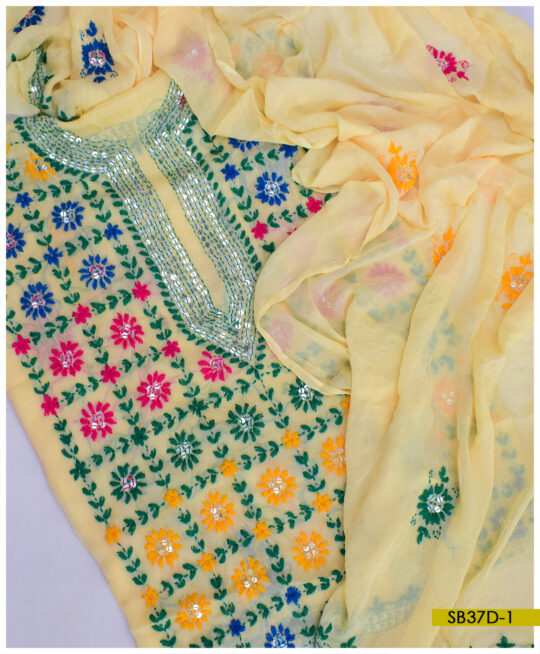 Chiffon 2 PCs Hand Embroidered Phulkari Work Shirt and Dupatta – SB37D