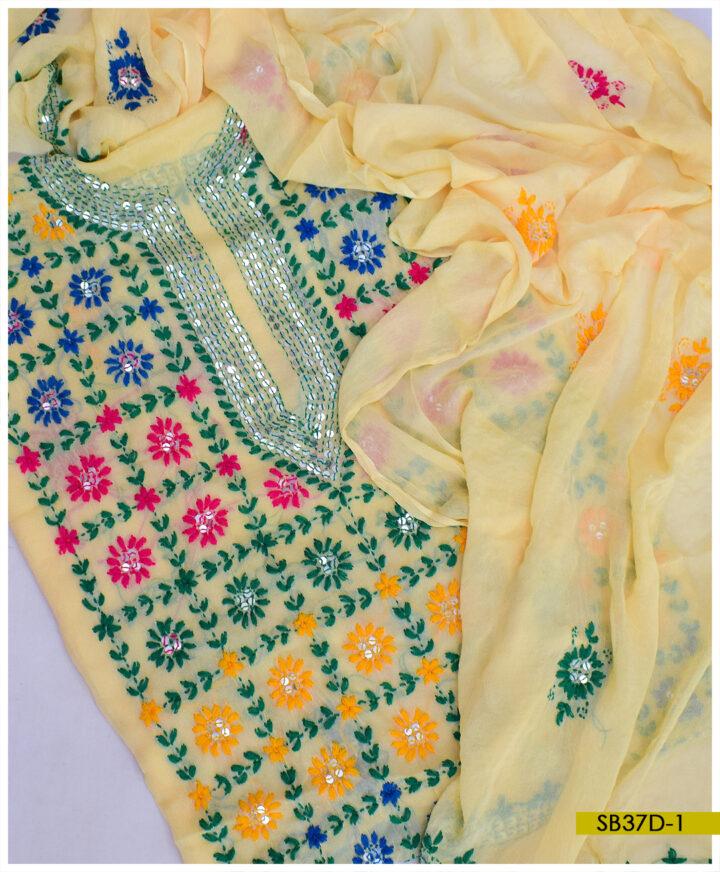 Chiffon 2 PCs Hand Embroidered Phulkari Work Shirt and Dupatta - SB37D