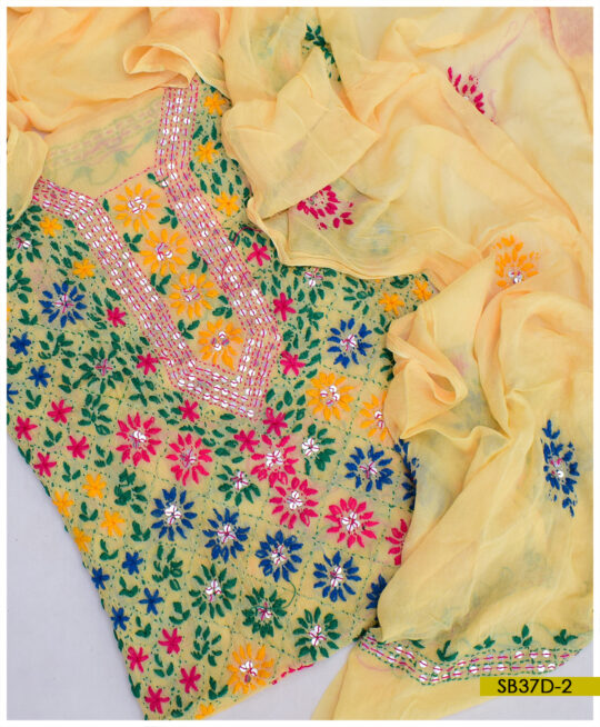 Chiffon 2 PCs Hand Embroidered Phulkari Work Shirt and Dupatta – SB37D