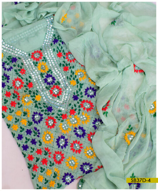 Chiffon 2 PCs Hand Embroidered Phulkari Work Shirt and Dupatta - SB37D