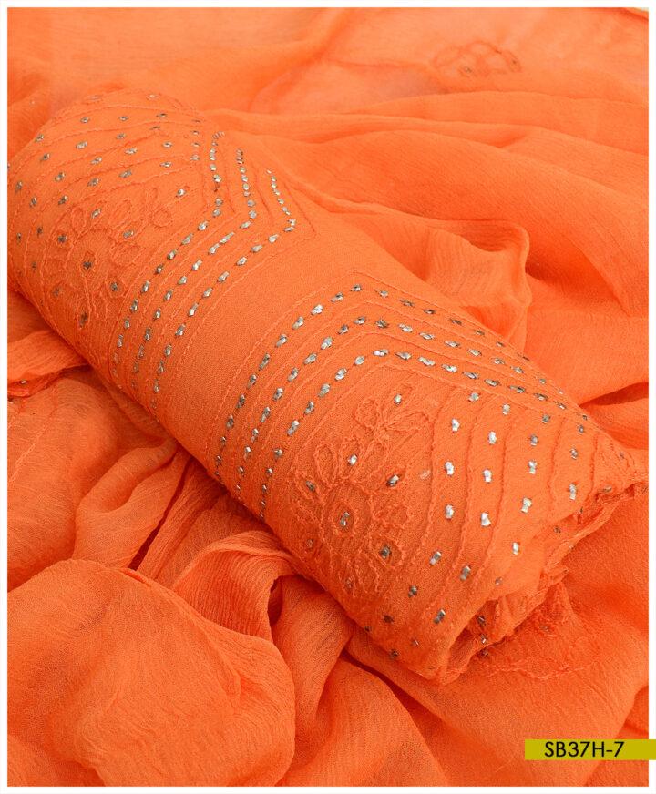Chiffon Hand Embroidered Aar Mukesh Kamdani Work Shirt and Dupatta - SB37H