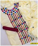 Linen Aari Work 3 PCs Embroidered Suits With Linen Dupatta - SEL-115