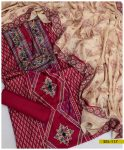 3 Pc Linen Embroidered Un-Stitched Suit With Linen Shawl - SEL-117
