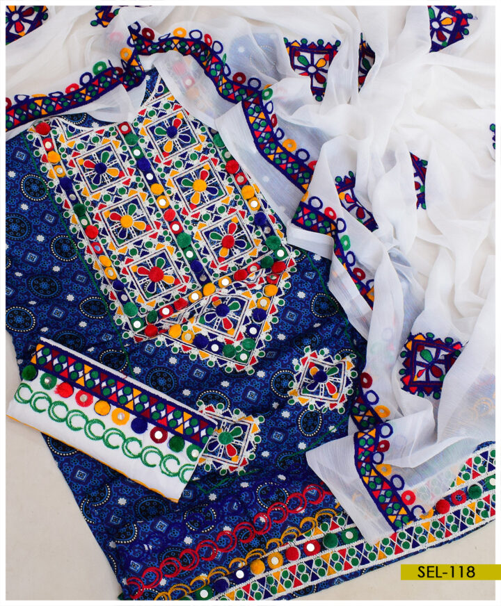 3 PCs Linen Ajrak Embroidered Suit With Chiffon Dupatta - SEL-118