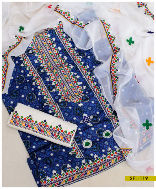 Linen Blue Ajrak 3 PC Embroidery Suit With Chiffon Dupatta - SEL-119