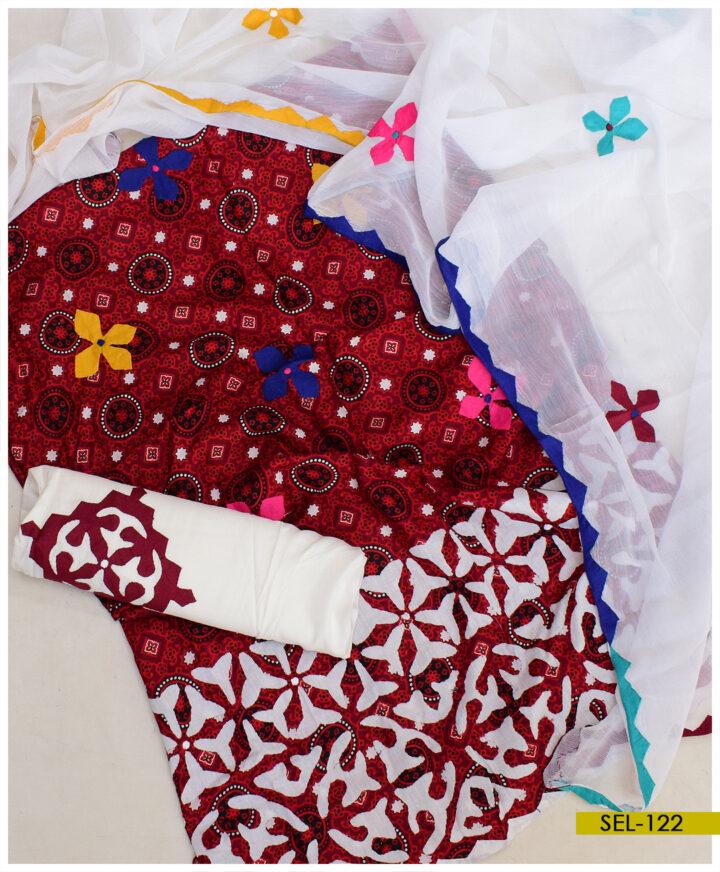 3 PCs Ajrak Handmade Applique Work Suits With Chiffon Dupatta - SEL-122