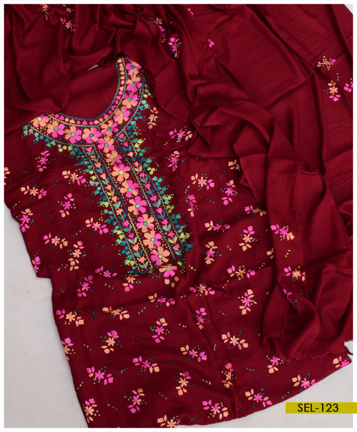 3 PCs Banarsi Work Hand Embroidered Linen Suit With Linen Dupatta - SEL-123
