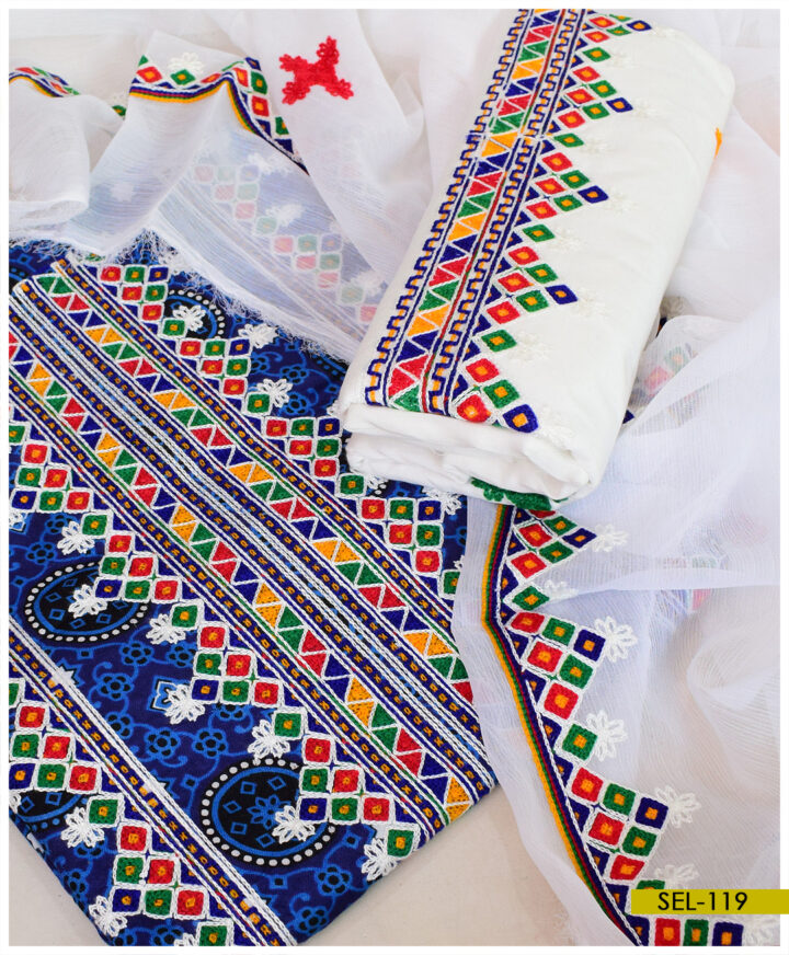 Linen Blue Ajrak 3 PC Embroidery Suit With Chiffon Dupatta - SEL-119