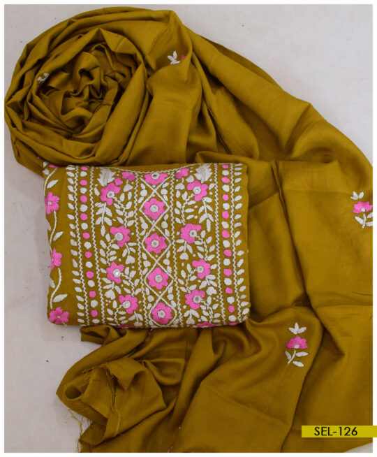 Hand Embroidered 3 PCs Linen Un-Stitched Suit with Linen Dupatta – SEL-126