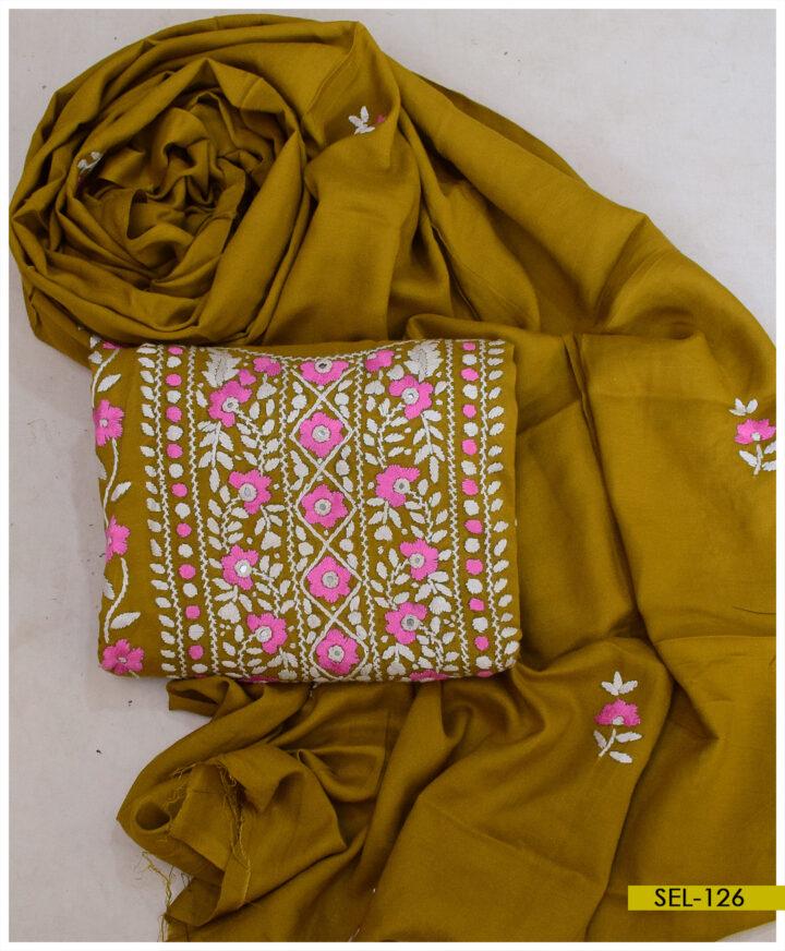 Hand Embroidered 3 PCs Linen Un-Stitched Suit with Linen Dupatta - SEL-126
