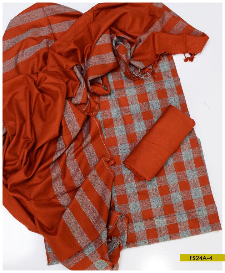 3 PCs Wool Winter Un-Stitched Suits - FS24A4
