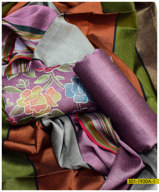 Machine Embroidered Aar Kacha Jaal Work on Staple Marina Fabric 3 PCs Suits – S01-1920A